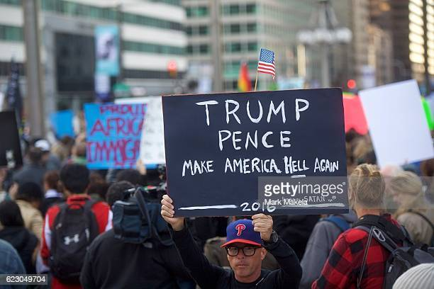 Protestors demonstrate against Presidentelect Donald Trump November 13 2016 in Philadelphia Pennsylvania The Republican candidate lost the popular...