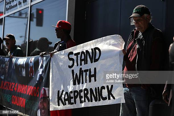 Protestors demonstrate in support of San Francisco 49ers quarterback Colin Kaepernick outside of the San Francisco Police Officers Association...