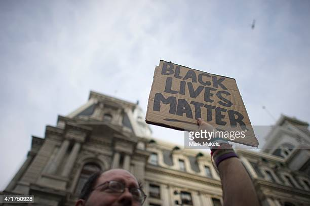 Protestors demonstrate over the death of Freddie Gray on April 30 2015 in Philadelphia Pennsylvania Freddie Gray was arrested for possessing a switch...