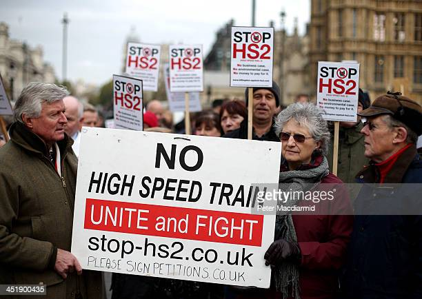 Protestors demonstrating against the High Speed 2 rail line gather near Parliament on November 25 2013 in London England Legislation for the proposed...