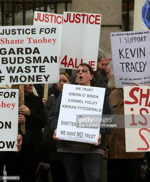 Protestors during a Justice 4 All protest against Garda malpractice outside Leinster House Dublin
