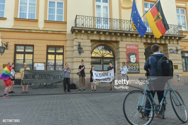 Protestors during 'Krakow in Solidarity with All Imprisoned in Hamburg' protest in front of the German Consulate in Krakow On Monday August 7 in...