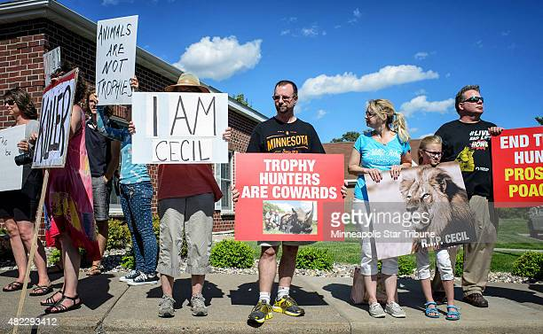Protestors from Animal Rights Coalition and Minnesota Animal Liberation gather in front of the dental practice River Bluff Dental of Dr Walter Palmer...