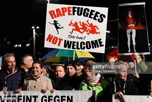 Protestors from the PEGIDA movement march during a rally in Leipzig on January 11 2016 Supporters of the xenophobic farright movement PEGIDA gathered...