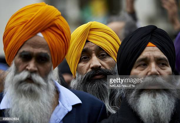 Protestors from the Sikh community demonstrate against Indian Prime Minister Narendra Modi by Parliament square in central London on November 12 2015...