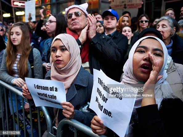 Protestors gather at a 'Today I Am A Muslim Too' rally at Times Square on Sunday February 19 2017 in Manhattan NY The rally is in response to...