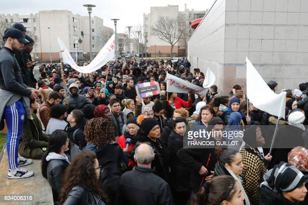 Protestors gather in front of Le Cap concert venue in the 'Cite des 3000' district in AulnaysousBois northern Paris on February 6 2017 during a...