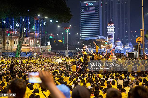 Protestors gather in Merdeka Square during the Bersih 40 rally on August 29 2015 in Kuala Lumpur Malaysia Prime Minister Najib Razak has become...