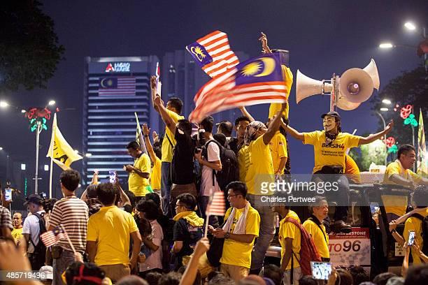Protestors gather in Merdeka Square during the Bersih 40 rally on August 29 2015 in Kuala Lumpur Malaysia Prime Minister Najib Razak has become...