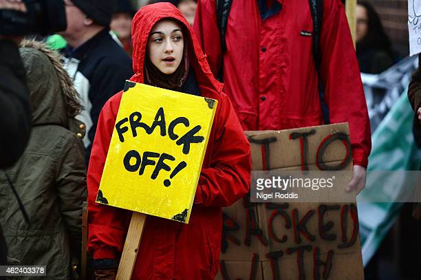 Protestors gather outside a council meeting to decide on two sites in Lancashire for fracking plants at Lancashire County Hall on January 28 2015 in...