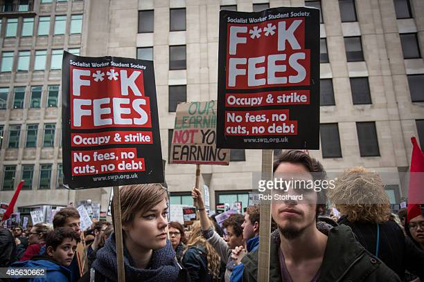 Protestors gather outside the Department for Business Innovation and Skills during a protest against education cuts and tuition fees on November 4...