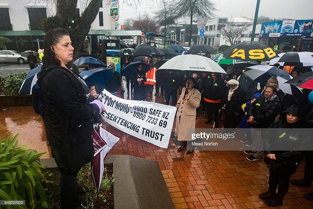 Protestors gathered outside the Rotoura Courthouse on June 27, 2016 in Rotorua, New Zealand. Three year old toddler Moko Rangitoheriri died on August 10, 2015 from injuries he received during prolonged abuse and torture at the hands of his carers. His killers Tania Shailer and David Haerewa were sentenced at Rotorua High Court today.