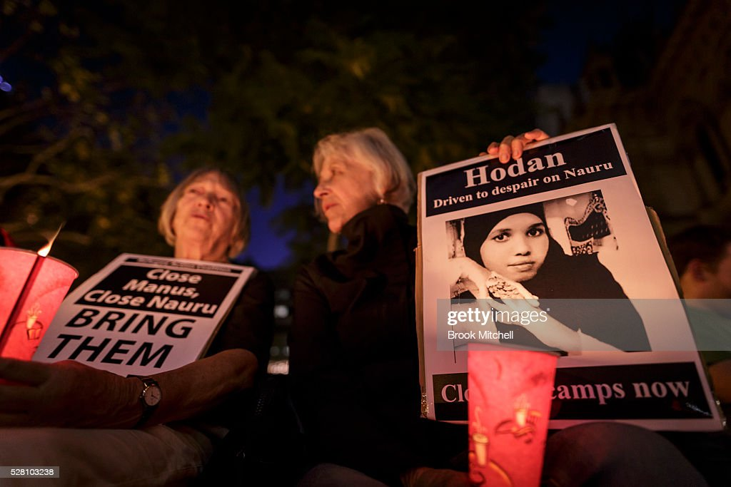 Protestors hold a vigil for Hodan Yasin at Sydney Town Hall on May 4, 2016 in Sydney, Australia. Hodan Yasin, a 21-year-old Somali refugee is being treated in a Brisbane hospital after setting herself alight in detention on Nauru on Monday. It is the second attempt on Nauru in a week, after Iranian refugee Omid Masoumali set himself on fire last Wednesday. He later died from his injuries.