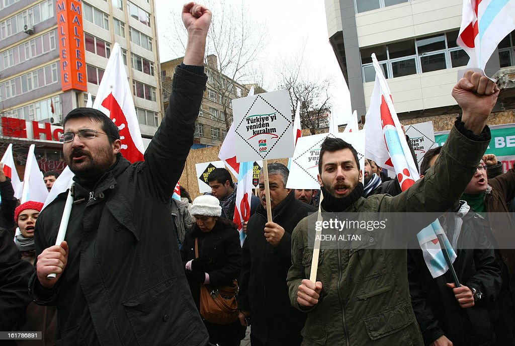 Protestors hold placards and shout during a demonstration of arround 150 people in central Ankara on February 16, 2013 against the deployment of US made Patriot missiles near the Syrian border. The left-wing group chantted slogans 'Let's drive the United States and NATO away from our country and our region' . NATO agreed in December to deploy Patriot missiles to help its ally Turkey after shells from Syria landed on the Turkish side of the border late last year, killing five civilians. AFP PHOTO / ADEM ALTAN