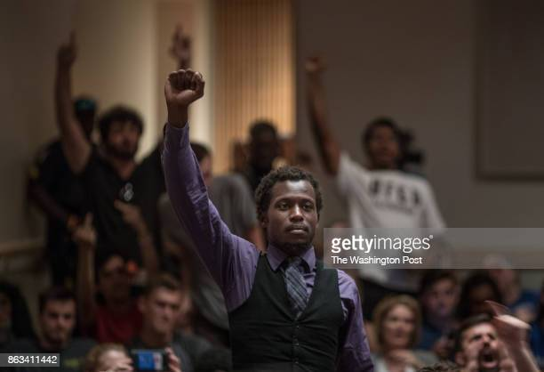 Protestors hold signs and chant during a speech by Richard Spencer at the University of Florida October 19 at the University of Florida in...