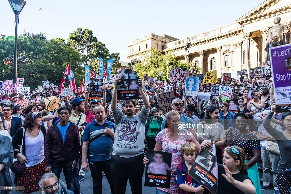 Protestors holding banners demand from the Australian government let refugees stay during a rally organised after the Australian High Court had rejected a challenge to the government's right to hold asylum seekers on Manus Island and Nauruon on February 8, 2016 in Melbourne, Australia. Over 260 people who had been sent to Australia for medical care are now likely to be sent back to Nauru.