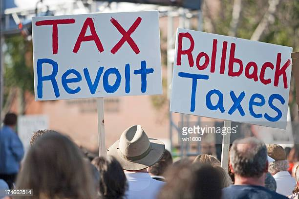 Protestors holding up tax revolt signs