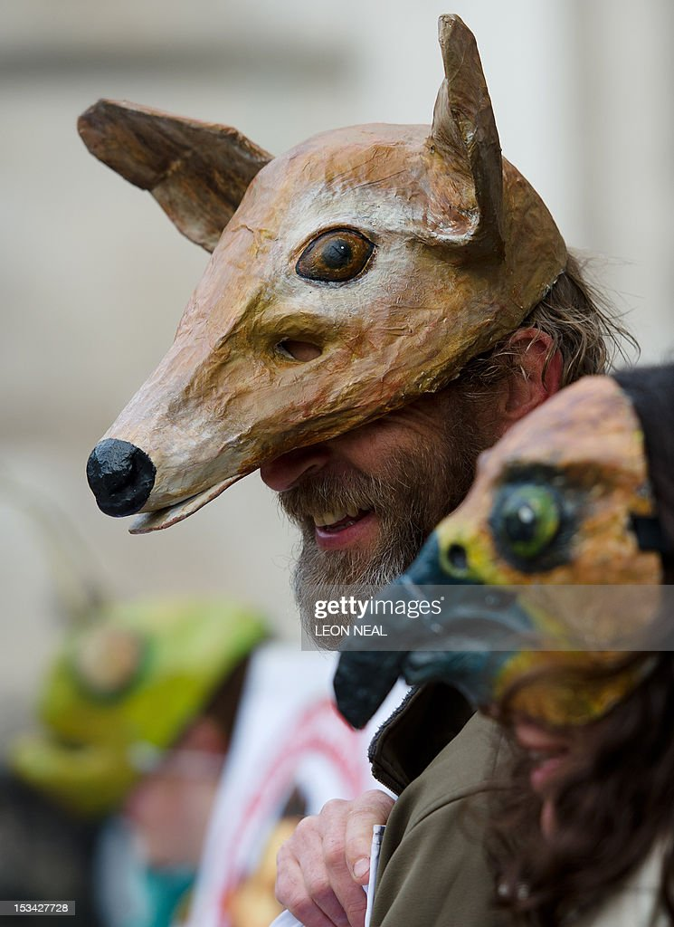 Protestors in animal masks demonstrate outside the High Court in central London, England on October 5, 2012 as they call for a halt in the proposed development of a new road in the Combe Haven area of England.