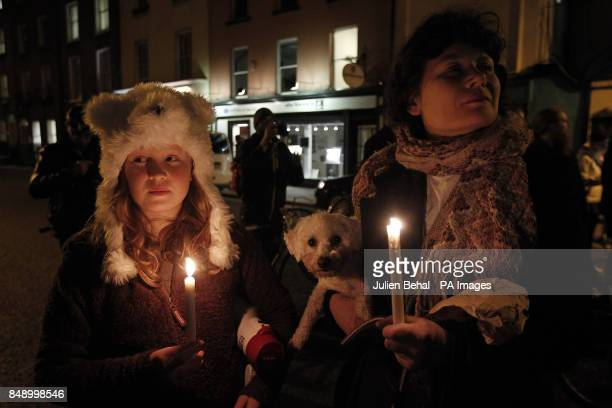 Protestors Juno Hegarty Vaary Claffey outside Leinster House this evening after the death of Savita Halappanavar a dentist aged 31 who was 17 weeks...