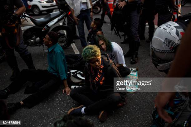 Protestors linked to trade union centrals protest against the Social Security and Labor Reforms proposed by President Michel Temer on June 30 2017 in...