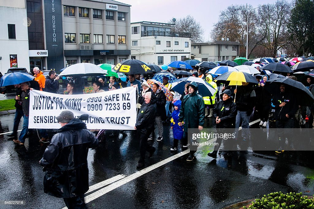 Protestors march down the street in Rotorua to the courthouse on June 27, 2016 in Rotorua, New Zealand. Three year old toddler Moko Rangitoheriri died on August 10, 2015 from injuries he received during prolonged abuse and torture at the hands of his carers. His killers Tania Shailer and David Haerewa were sentenced at Rotorua High Court today.