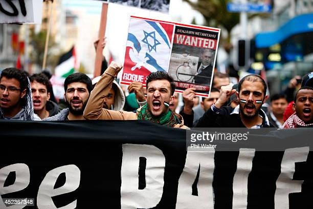 Protestors march from Aotea Square down Queen Street protesting the Israeli ground invasion of Gaza on July 19 2014 in Auckland New Zealand The march...