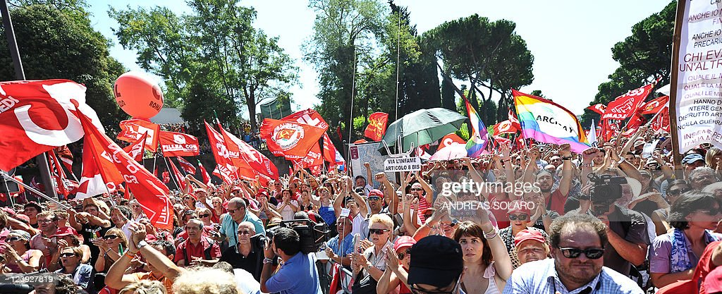 Protestors march on September 6 2011 during a demonstration organized by the leftist General Confederation of Italian Workers union against the...