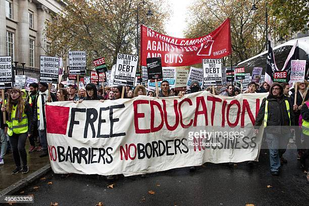 Protestors march through central London during a protest against education cuts and tuition fees on November 4 2015 in London England University...