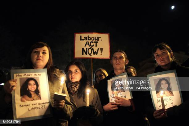 Protestors outside Leinster House Dublin in memory of Savita Halappanavar who died on October 28 17 weeks into her pregnancy after she miscarried and...