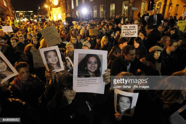 Protestors outside Leinster House this evening after the death of Savita Halappanavar a dentist aged 31 who was 17 weeks pregnant after suffering a...