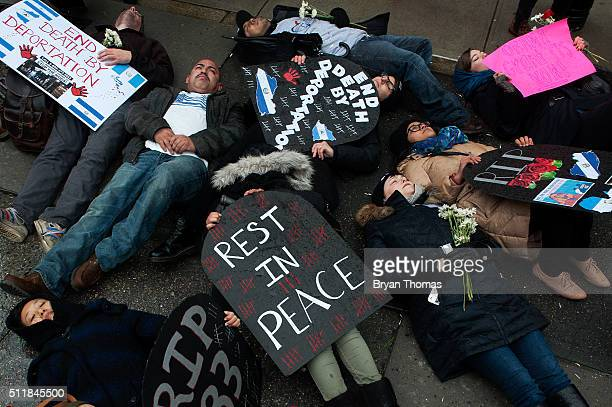Protestors participate in a 'diein' outside the Immigrations and Customs Enforcement building on February 23 2016 in New York City The protestors...