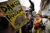 Protestors react outside a council meeting to decide on two sites in Lancashire for fracking plants at Lancashire County Hall on January 28 2015 in...