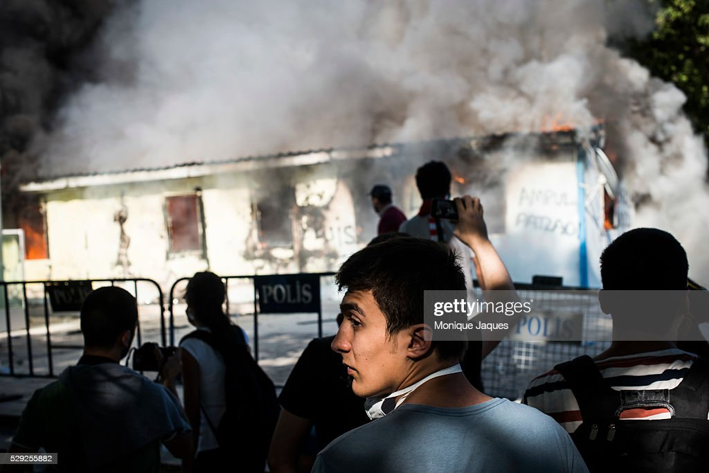 Protestors set a small shack on fire Protests in Istanbul Turkey continue Protests began as a fight to save Gexi Park in central Istanbul After the...