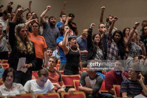 Protestors shout and chant during a speech by Richard Spencer at the University of Florida to a mostly empty 1700 seat capacity venue October 19 at...