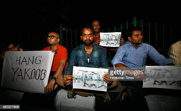 Protestors shout slogans against 1993 Mumbai Blasts accused Yakub Memon outside the Supreme Court during hearing on a desperate plea by group of...