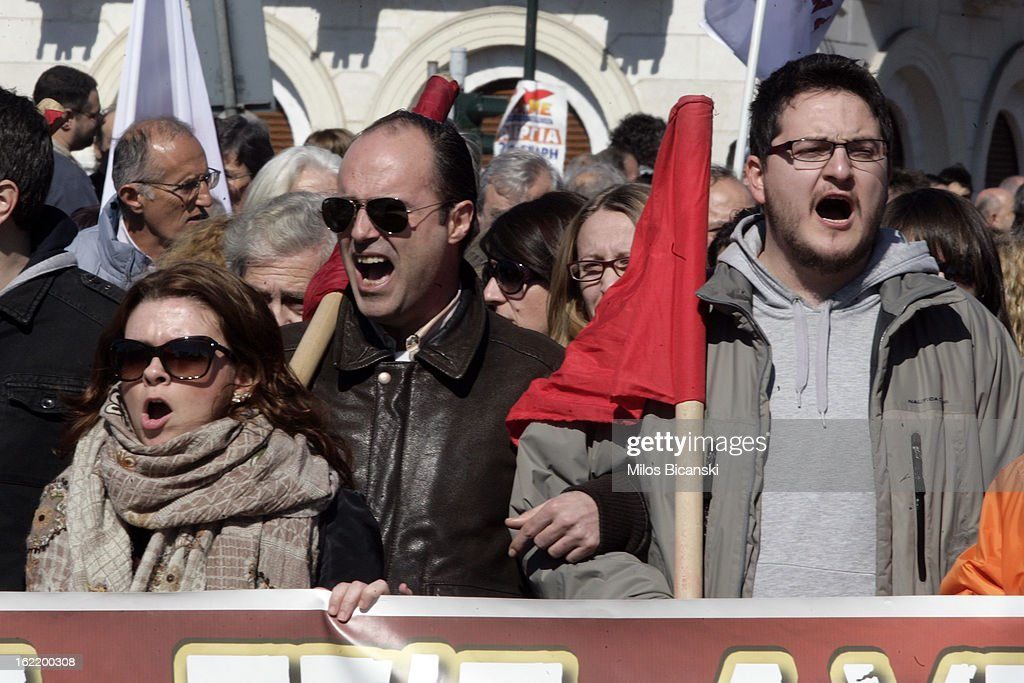 Protestors shout slogans outside Greece's parliament during a protest on February 20, 2013 in Athens, Greece. Unions have launched general strike against austerity measures in Greece, amid predictions unemployment in the crisis-hit country will reach 30 percent this year.