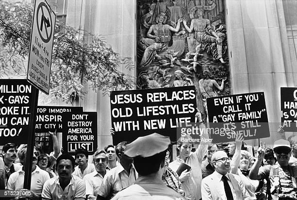 Protestors show their distaste at a Gay Pride parade in New York City USA June 1983