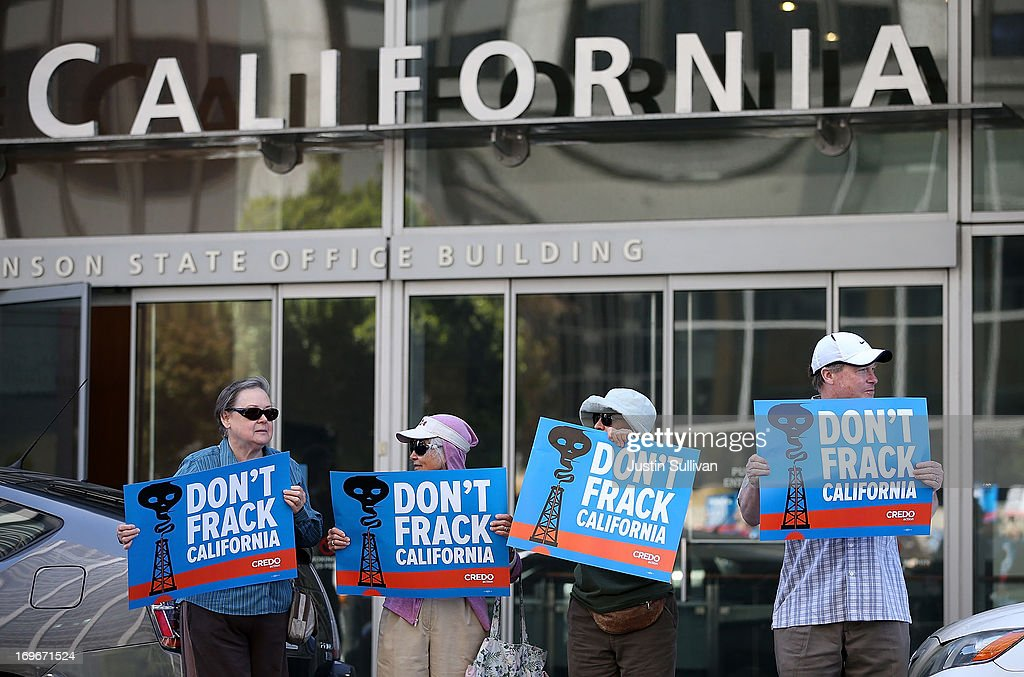 Protestors stage a demonstration against fracking in California outside of the Hiram W Johnson State Office Building on May 30 2013 in San Francisco...