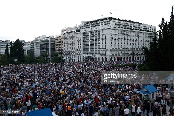 Protestors stage a rally in support of the European Union at Syntagma Square in Athens Greece on Thursday June 18 2015 Euroarea leaders will hold an...