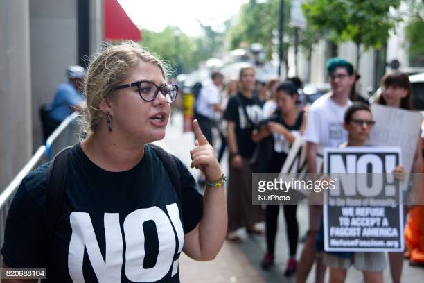 Protestors stand outside as US Attorney General Jeff Sessions delivers a speech outlining the Department of Justice policy regarding Sanctuary Cities...