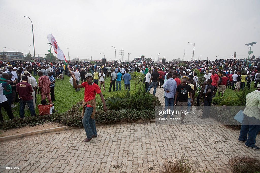 Protestors take part in a demonstration against the recent price hikes of fuel at Gani Fawehinmi Park on January 9 2012 in Lagos Nigeria Thousands of...