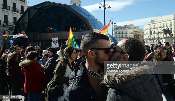 Protestors take part in a kissing protest against homophobia in the city's underground service after an employee sent a letter demanding colleagues...