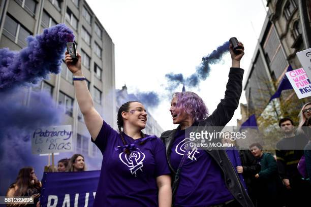 Protestors take part in the Rally for Choice march on October 14 2017 in Belfast Northern Ireland The pro choice marchers are demanding equal...