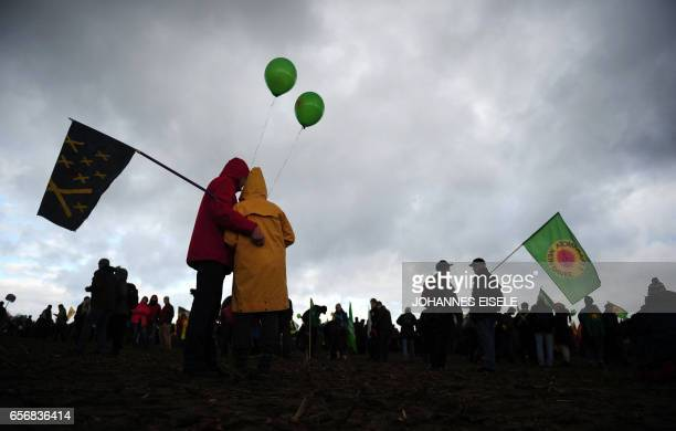 Protestors take part on a demonstration on November 6 2010 in Dannenberg near Gorleben Protests are underway against the Castor transport of nuclear...