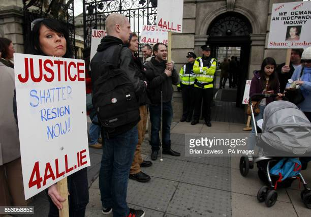 Protestors uring a Justice 4 All protest against Garda malpractice outside Leinster House Dublin
