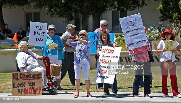 Protestors who want criminal illegal immigrants deported rally as protesters from both sides voice their differences near the Santa Maria Courthouse...