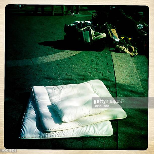 Protestors with the Occupy Wall Street bring mattress and plillows to sleep on at Union Square protestors plan to revive the movement with daily...