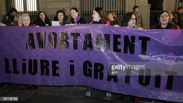 Protestrors demand the right to abortion during a demonstration in Barcelona 23 January 2008 The demonstration organised by women's rights groups...