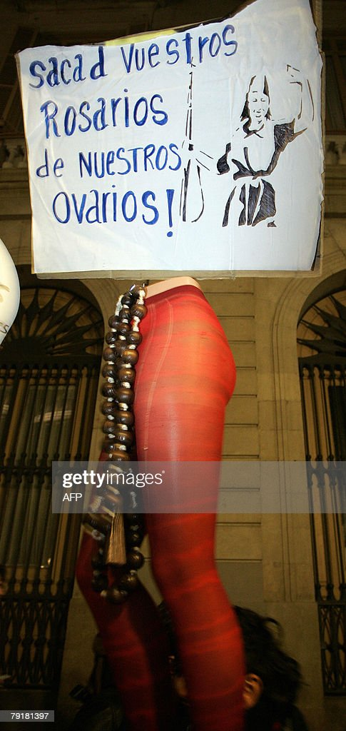Protestrors demand the right to abortion during a demonstration in Barcelona, 23 January 2008. The demonstration organised by women's rights groups called for the right to free abortion following attacks by conservative organisations.