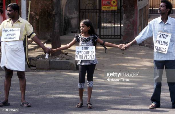 Protests and Demonstration More than hundred Tamil residents of Mumbai protested by Human Chain at Matunga to Mulund against Sri lankan Govt for...